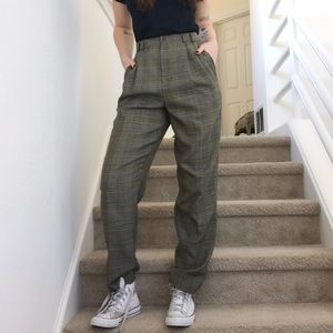 Vintage Plaid Tweed High Waist Mom Trouser Pants